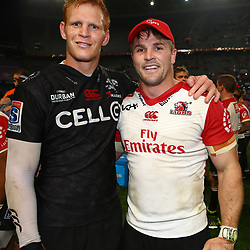 Philip van der Walt (captain) of the Cell C Sharks with Jaco Kriel (captain) of the Emirates Lions during the Vodacom Super Rugby match between the Cell C Sharks and the Emirates Lions the at Growthpoint Kings Park in Durban, South Africa. 15th July 2017(Photo by Steve Haag)
