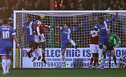 Swindon Town's Nile Ranger scores the opening goal - Photo mandatory by-line: Joe Dent/JMP - Tel: Mobile: 07966 386802 11/01/2014 - SPORT - FOOTBALL - County Ground - Swindon - Swindon Town v Peterborough United - Sky Bet League One
