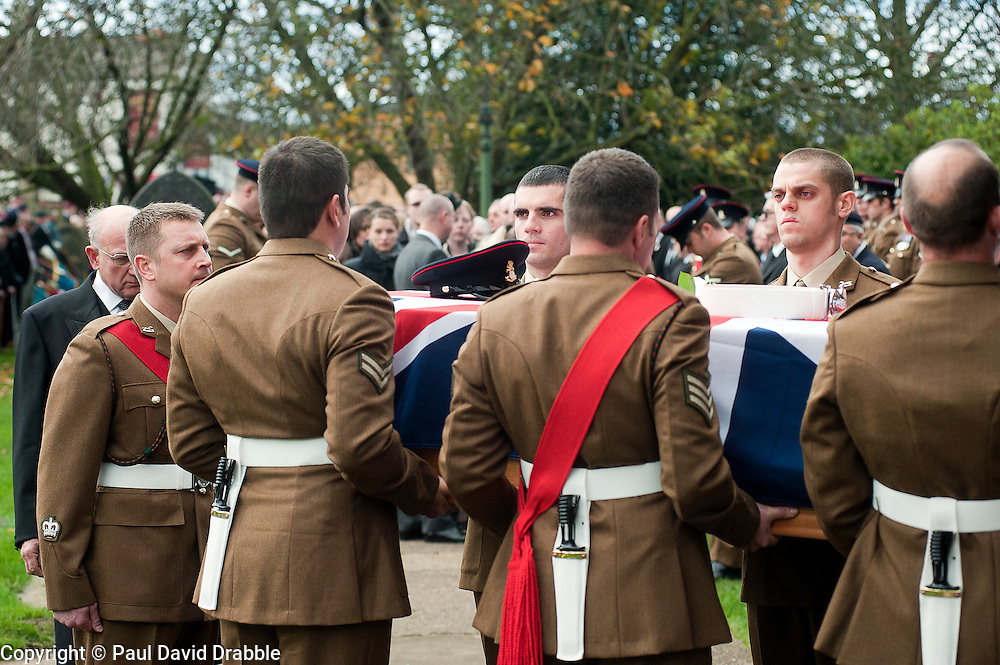 Funeral of Private Matthew Adam Thornton, Territorial Army Soldier with 4th Battalion The Yorkshire Regiment who was killed on the 9th of November 2011 while deployed to Afghanistan with Support Company 1st Battalion the Yorkshire Regiment..Private Thornton was killed just 6 days after his 28th Birthday and 2 days before Armistice Day..29 November 2011  Image © Paul David Drabble