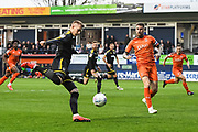 AFC Wimbledon Forward Joe Pigott (39) and Luton Town Defender Sonny Bradley (5) in action during the EFL Sky Bet League 1 match between Luton Town and AFC Wimbledon at Kenilworth Road, Luton, England on 23 April 2019.