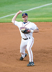 Virginia Cavaliers INF Tyler Cannon (10) throws to first after fielding a ground ball at third base.  The #16 ranked Virginia Cavaliers baseball team faced the William and Mary Tribe at the University of Virginia's Davenport Field in Charlottesville, VA on April 23, 2008.
