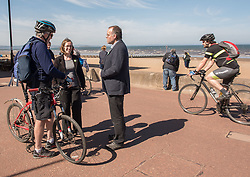Green MSP Andy Wightman and other Green Party activists joined local Green candidate Mary Campbell for some last minute campaigning on Portobello Prom Pictured: Mary Campbell, Andy Wightman MSP<br /> <br /> <br /> © Jon Davey/ EEm