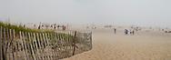 Ponquogue Beach, Hampton Bays, New York, South Fork, Long Island, Foggy Day, Volley Ball, panorama