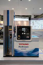 Hydrogen fuel pump for refuelling hydrogen fuel-cell cars at Tokyo Motor Show 2013 in Japan