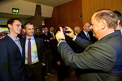 Aleksander Ceferin, president of UEFA and Milan Jarc (R) during Traditional New Year party of of the Slovenian Football Association - NZS, on December 20, 2018 in Gospodarsko razstavisce, Ljubljana, Slovenia. Photo by Vid Ponikvar / Sportida