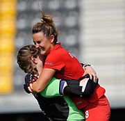 Monkstown's  Nicola Evans celebrates their shoot-out victory with keeper Liz Murphy during the 7/8 play-off at the EHCC 2017 at Den Bosch HC, The Netherlands, 5th June 2017