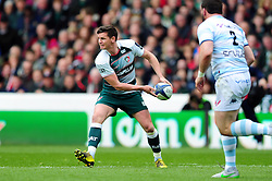 Freddie Burns of Leicester Tigers looks to pass the ball - Mandatory byline: Patrick Khachfe/JMP - 07966 386802 - 24/04/2016 - RUGBY UNION - The City Ground - Nottingham, England - Leicester Tigers v Racing 92 - European Rugby Champions Cup Semi Final.