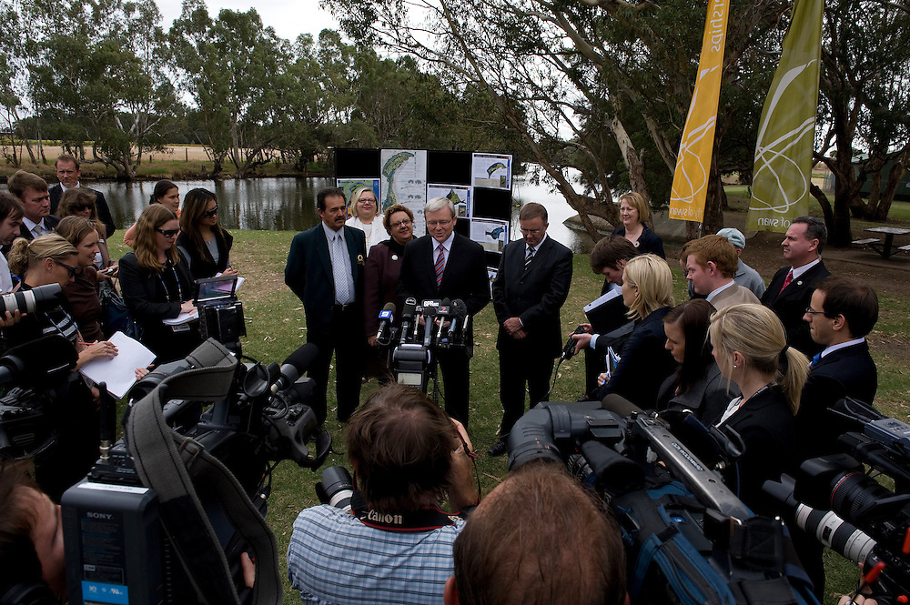 Australian Prime Minister Kevin Rudd visits the site of the Swan Riverside Regional Park in Midland, Western Australia