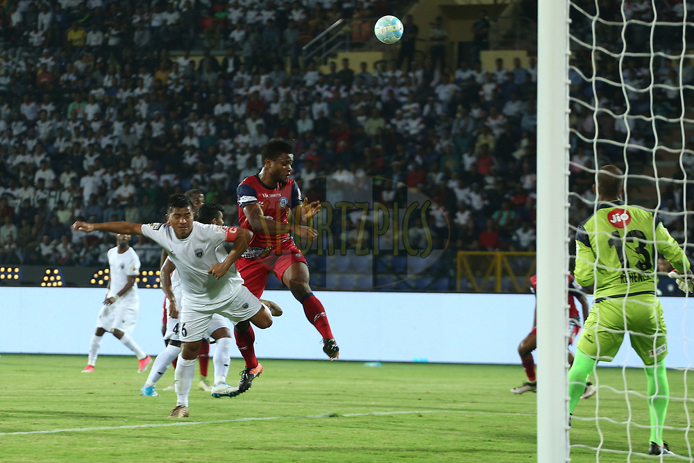 Izu Azuka of Jamshedpur FC attacks the goal during match 2 of the Hero Indian Super League between NorthEast United FC and Jamshedpur FC held at the Indira Gandhi Athletic Stadium, Guwahati India on the 18th November 2017<br /> <br /> Photo by: Ron Gaunt / ISL / SPORTZPICS