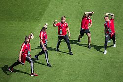 PARIS, FRANCE - Friday, June 24, 2016: Wales Sam Vokes,  George Williams, Hal Robson-Kanu and David Cotterill during a training session at the Parc des Princes ahead of the Round of 16 UEFA Euro 2016 Championship match against Northern Ireland. (Pic by Paul Greenwood/Propaganda)
