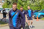 AFC Wimbledon striker Joe Pigott (39), AFC Wimbledon midfielder Scott Wagstaff (7) and AFC Wimbledon midfielder Mitchell (Mitch) Pinnock (11) arriving during the EFL Sky Bet League 1 match between AFC Wimbledon and Bristol Rovers at the Cherry Red Records Stadium, Kingston, England on 19 April 2019.