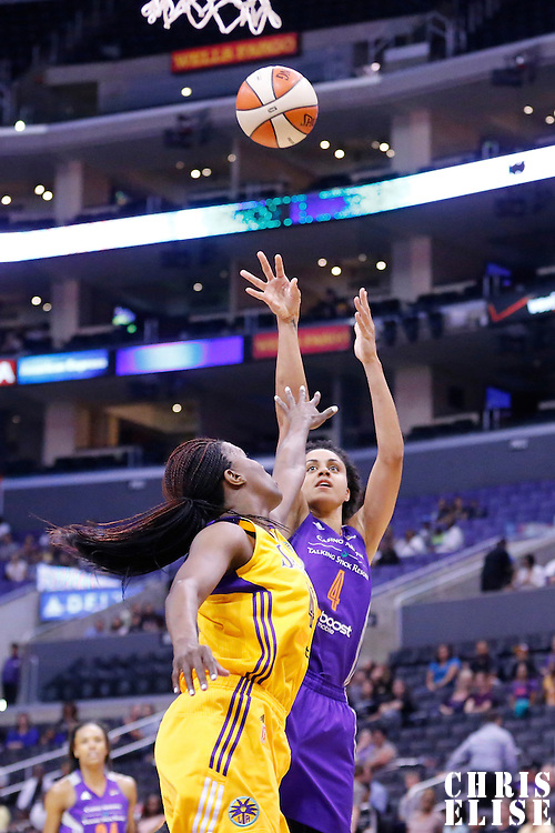 18 May 2014: Phoenix Mercury forward Candice Dupree (4) takes a jumpshot over Los Angeles Sparks center Jantel Lavender (42) during the Phoenix Mercury 74-69 victory over the Los Angeles Sparks, at the Staples Center, Los Angeles, California, USA.
