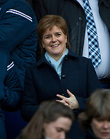 EDINBURGH, SCOTLAND - FEBRUARY 24:  Scotland's first minister, Nicola Sturgeon MSP, is delighted as the Scots beat England by 25-13 to lift the Calcutta cup at BT Murrayfield on February 24, 2018 in Edinburgh, Scotland. (Photo by MB Media/Getty Images)
