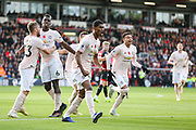 GOAL - Manchester United Forward Marcus Rashford scores 1-2 and celebrates with Manchester United Midfielder Jesse Lingard Manchester United Midfielder Paul Pogba and Manchester United Defender Luke Shaw during the Premier League match between Bournemouth and Manchester United at the Vitality Stadium, Bournemouth, England on 3 November 2018.