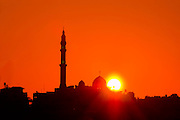 Israel, Coastal Plains, Jisr Az-Zarqa Silhouette of the Mosque at sunrise