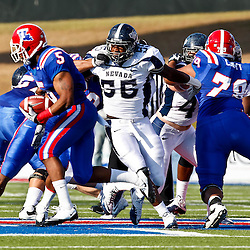 December 4, 2010; Ruston, LA, USA;  Nevada Wolf Pack defensive end Dontay Moch (55) pursues Louisiana Tech Bulldogs running back Lennon Creer (5) during the first half at Joe Aillet Stadium.  Mandatory Credit: Derick E. Hingle