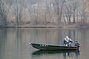 Minnesota USA, Winona Fishing in the Mississippi river  November 2006