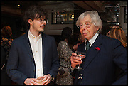AMADEUS STEVENSON; ERIC CHRISTIANSEN Lynn Barber celebrates her 70th birthday and the publiction of ' A Curious Career. Hixter, 9a Devonshire Sq. London. 8 May 2014.