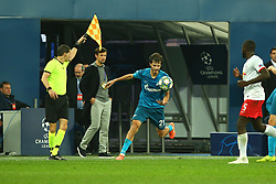 November 5, 2019, St. Petersburg, Russia: Russian Federation. Saint-Petersburg. Gazprom Arena. Football. UEFA Champions League. Group G. round 4. Football club Zenit - Football Club RB Leipzig. Player of Zenit football club Alexander Erokhin  (Credit Image: © Russian Look via ZUMA Wire)
