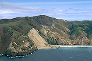Aerial view of landslide on the northeast coast of Santa Cruz Island, Channel Islands, California