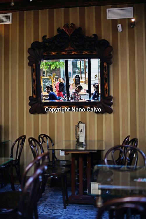 Interior of La Bicicleta restaurant, Granada, Spain