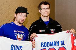Mitja Sivic and Marcel Rodman at Mitja Sivic's and Marcel Rodman's anniversary of playing for Slovenian National Team for 100 times, during IIHF WC Div. I B 2010 in Ljubljana, on April 22, 2010, Hotel Lev, Ljubljana, Slovenija. (Photo by Matic Klansek Velej / Sportida)