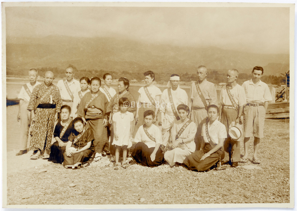 vacationing group portrait vintage Japan