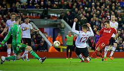 LIVERPOOL, ENGLAND - Thursday, March 10, 2016: Liverpool's Roberto Firmino scores the second goal against Manchester United's goalkeeper David de Gea during the UEFA Europa League Round of 16 1st Leg match at Anfield. (Pic by David Rawcliffe/Propaganda)