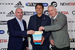 NANTGARW, WALES - Wednesday, March 1, 2017: Wales manager Chris Coleman [C] with performance psychologist Ian Mitchall [L] and coach Kit Symons [R] attend the premier of Don't Take Me Home - the incredible true story of Wales' Euro 2016 at Showcase Cinema Nantgarw on St. David's Day. (Pic by David Rawcliffe/Propaganda)