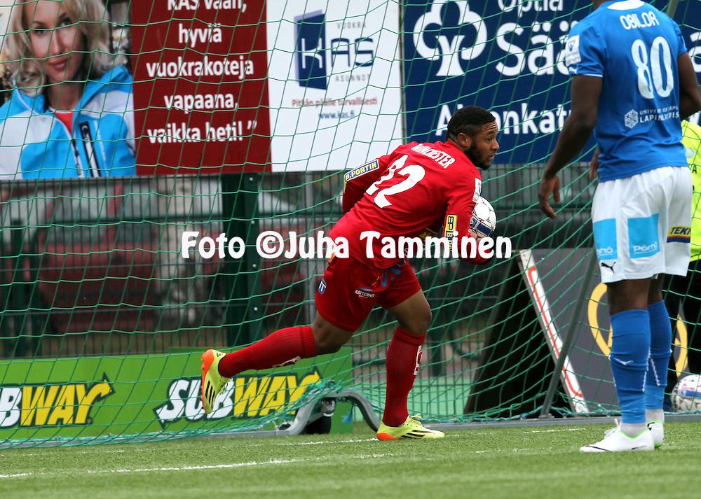 26.5.2014, Keskuskentt&auml;, Rovaniemi.<br /> Veikkausliiga 2014.<br /> Rovaniemen Palloseura - FF Jaro.<br /> Shahdon Winchester - Jaro