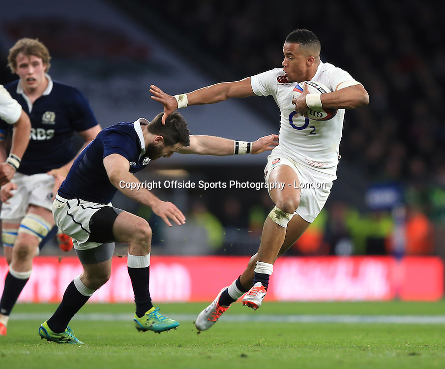 14 March 2015 - 6 Nations Rugby - England v Scotland :  Anthony Watson of England on the attack.<br /> Photo: Mark Leech