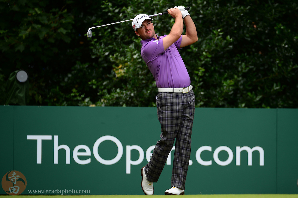 July 21, 2012; St. Annes, ENGLAND; Graeme McDowell tees off on the 1st hole during the third round of the 2012 British Open Championship at Royal Lytham & St. Annes Golf Club.