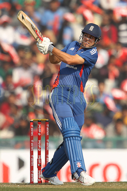 Alastair Cook of England during the 4th Airtel ODI Match between India and England held at the PCA Stadium, Mohal, India on the 23rd January 2013..Photo by Ron Gaunt/BCCI/SPORTZPICS ..Use of this image is subject to the terms and conditions as outlined by the BCCI. These terms can be found by following this link:..http://www.sportzpics.co.za/image/I0000SoRagM2cIEc