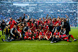 Saracens celebrate after winning the Heineken Champions Cup after beating Leinster Rugby in the Final - Mandatory by-line: Robbie Stephenson/JMP - 11/05/2019 - RUGBY - St James' Park - Newcastle, England - Leinster Rugby v Saracens - Heineken Champions Cup Final