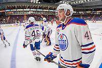 PENTICTON, CANADA - SEPTEMBER 17: Tomas Soustal #41 of Edmonton Oilers stands at the bench during warm up against the Calgary Flames on September 17, 2016 at the South Okanagan Event Centre in Penticton, British Columbia, Canada.  (Photo by Marissa Baecker/Shoot the Breeze)  *** Local Caption *** Tomas Soustal;
