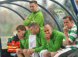Castlebar Celtic's dugout during the penalty shootout Connaught Cup Final.<br /> Pic Conor McKeown