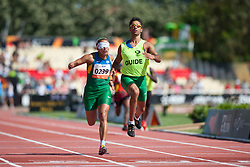 GUILHERMINA Terezinha Guide:  SANTANA Guilherme, BRA, 200m, T11, 2013 IPC Athletics World Championships, Lyon, France