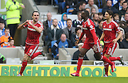 Middlesbrough FC striker Kike scores the opening goal  during the Sky Bet Championship match between Brighton and Hove Albion and Middlesbrough at the American Express Community Stadium, Brighton and Hove, England on 19 December 2015.