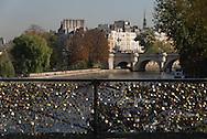 France. Paris.1st district. Love locks on the pont des Arts on the Seine river / la passerelle des arts sur la Seine