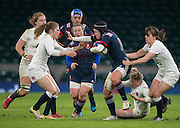 Twickenham, United Kingdom. Shannon IZAR atempts to &quot;Hand Off&quot;, Lydia THOMPSON during the Women's RBS. Six Nations : England Women  vs France Women. at the  RFU Stadium, Twickenham, England, <br /> <br /> Saturday  04/02/2017<br /> <br /> [Mandatory Credit; Peter Spurrier/Intersport-images]