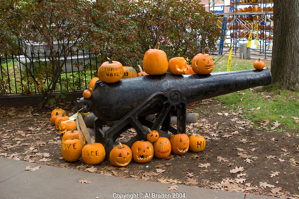 Canon and Jack o Lanterns at Keene Pumpkin Festival