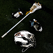 The equipment of Miles Thompson #74 of the Rochester Rattlers is seen on the field prior to the game at Harvard Stadium on August 9, 2014 in Boston, Massachusetts. (Photo by Elan Kawesch)
