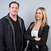 "Brendan Fraser, left, and Mira Sorvino cast members in the AT&T Audience series ""Condor"" pose for a portrait during the 2018 Television Critics Association Winter Press Tour at the Langham Hotel on Thursday, Jan. 11, 2018, in Pasadena, Calif. (Photo by Willy Sanjuan/Invision/AP)"