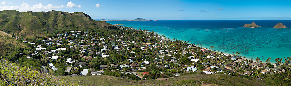 Panorama of Lanikai & the Mokulua Islands, Kailua, Oahu, Hawaii