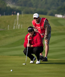 03.06.2010, Celtic Manor Resort and Golf Club, Newport, ENG, The Celtic Manor Wales Open 2010, im Bild Shane Lowry (IRL) lines up a putt. EXPA Pictures © 2010, PhotoCredit: EXPA/ M. Gunn / SPORTIDA PHOTO AGENCY