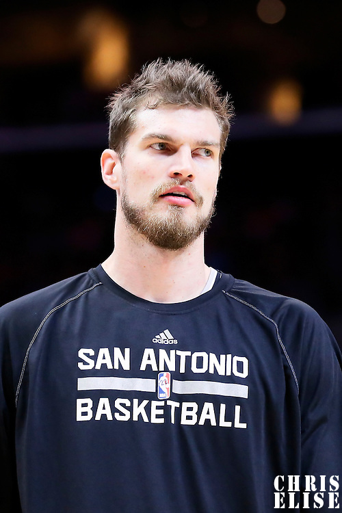 19 April 2014:  San Antonio Spurs center Tiago Splitter (22) warms up prior to the Los Angeles Clippers 107-92 victory over the San Antonio Spurs, during Game One of the Western Conference Quarterfinals of the NBA Playoffs, at the Staples Center, Los Angeles, California, USA.