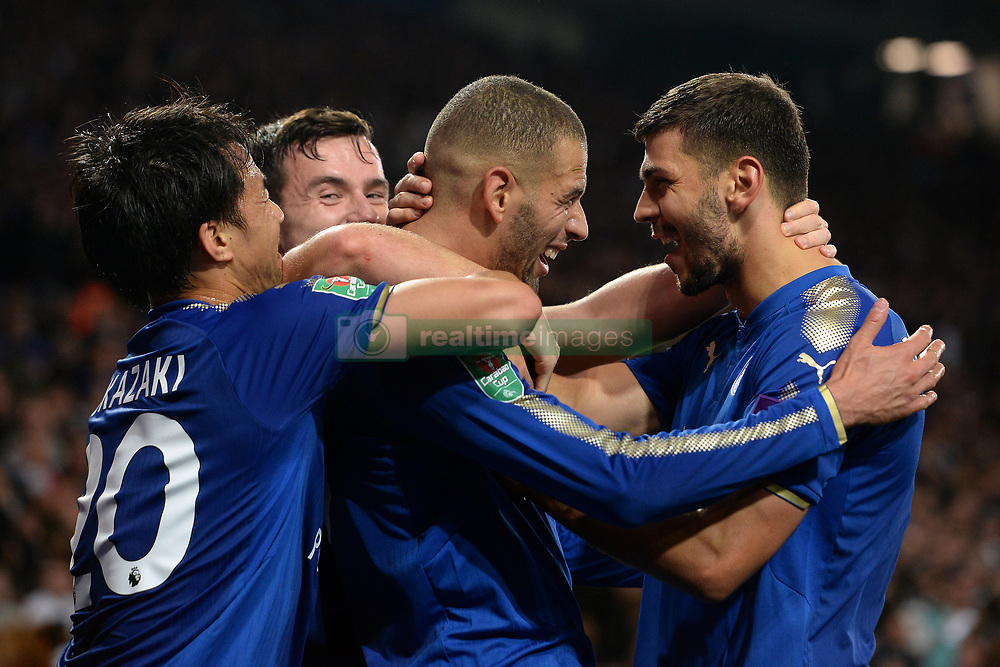 Leicester City's Islam Slimani celebrates his goal with Aleksandar Dragovic (right)