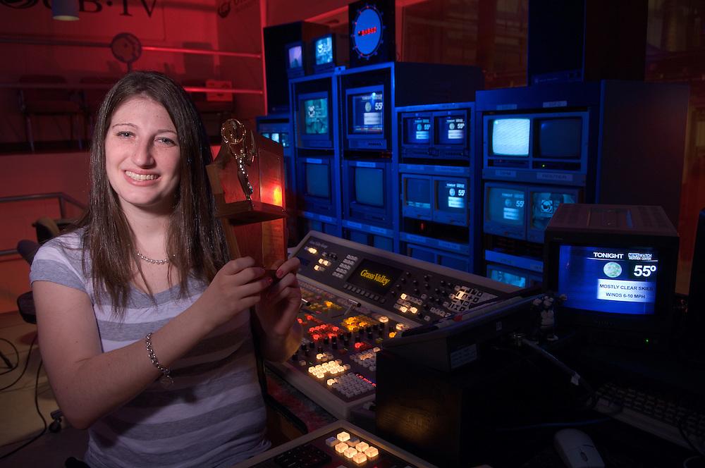 Emmy winner Kim Kanner in WOUB Control room for viewbook