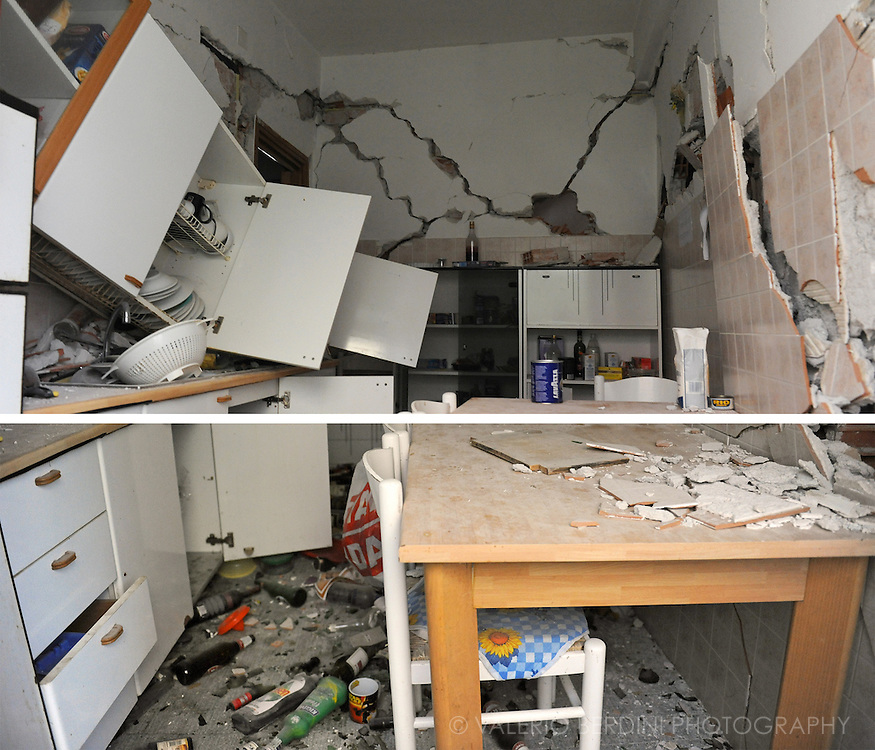 The remains of a kitchen.<br />