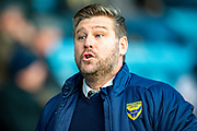 Oxford United manager Karl Robinson during the EFL Sky Bet League 1 match between Gillingham and Oxford United at the MEMS Priestfield Stadium, Gillingham, England on 18 January 2020.